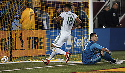 September 22, 2018 - Minneapolis, MN, USA - Portland Timbers defender Julio Cascante (18) went to grab the ball from the goal as Minnesota United goalkeeper Bobby Shuttleworth (33) looks on in frustration after allowing a goal in the second half on Saturday, Sept. 22, 2018, at TCF Bank Stadium in Minneapolis. The host Loons won, 3-2. (Credit Image: © Aaron Lavinsky/Minneapolis Star Tribune/TNS via ZUMA Wire)