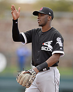 GLENDALE, ARIZONA - FEBRUARY 23:  Tim Anderson #7 of the Chicago White Sox looks on during the game against the Los Angeles Dodgers on February 23, 2018 at Camelback Ranch in Glendale Arizona.  (Photo by Ron Vesely)  Subject:   Tim Anderson