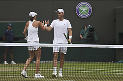 LONDON, July 14, 2018  Michael Venus (R) of New Zealand and Katarina Srebotnik of Slovenia react during the mixed doubles semifinal match against Alexander Peya of Austria and Nicole Melichar of the United States at the Wimbledon Championships 2018 in London, Britain, July 13, 2018. Alexander Peya and Nicole Melichar won 2-0. (Credit Image: © Stephen Chung/Xinhua via ZUMA Wire)