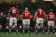 The Wales players face the NZ Haka. Invesco Perpetual series 2008 autumn international match, Wales v New Zealand at the Millennium Stadium on Sat 22nd Nov 2008. pic by Andrew Orchard, Andrew Orchard sports photography,