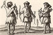 Samoyed archers in clothes made of animal skins. Engraving after an illustration in 'Voyagie ? van by Noorden omlanges Noorwegen de Noortcaep,  Laplant ?' by Jan Huyghen van Linschoten (Franeker, 1601).