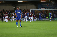 AFC Wimbledon defender Rod McDonald (26) red card, sent off during the EFL Carabao Cup 2nd round match between AFC Wimbledon and West Ham United at the Cherry Red Records Stadium, Kingston, England on 28 August 2018.