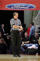 26 January 2016: John Higgins calls a contact foul during the Illinois State Redbirds v Drake Bulldogs at Redbird Arena in Normal Illinois (Photo by Alan Look)