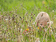 Little girl peeking through the grass by Kristina Cilia Photography of Vacaville