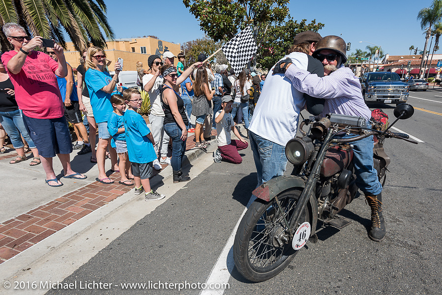 3,400 miles from the Atlantic to the Pacific - The journey is over. Jeff Erdman of Wisconsin riding his 1916 Harley-Davidson crosses the finish line of the Motorcycle Cannonball Race of the Century. Stage-15 ride from Palm Desert, CA to Carlsbad, CA. USA. Sunday September 25, 2016. Photography ©2016 Michael Lichter.