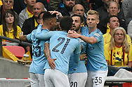 Goal - Gabriel Jesus (33) of Manchester City celebrates scoring a goal to give a 2-0 lead during the The FA Cup Final match between Manchester City and Watford at Wembley Stadium, London, England on 18 May 2019.