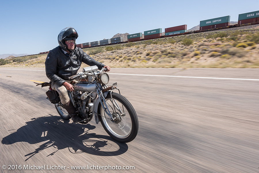Ryan Allen of New Mexico riding his 1916 Indian on historic Route 66 near Kingman, Arizona during the Motorcycle Cannonball Race of the Century. Stage-13 ride from Williams, AZ to Lake Havasu CIty, AZ. USA. Friday September 23, 2016. Photography ©2016 Michael Lichter.