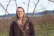 Morgan Hall, assistant wine grower and wine maker. <br /> Johan Vineyards, Willamette Valley, Oregon, USA