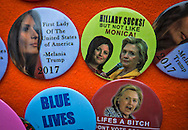 Political buttons for sale on the day of  the  inauguration of Donald Trump in Washignton D.C.