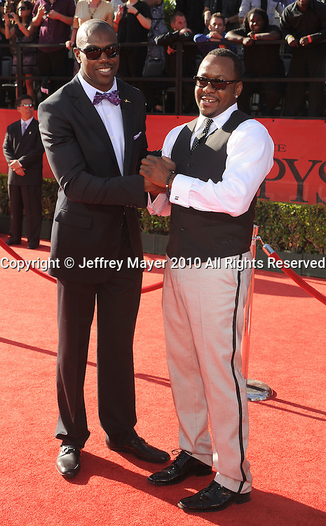LOS ANGELES, CA. - July 14: NFL player Terrell Owens (L) and singer Bobby Brown arrive at the 2010 ESPY Awards at Nokia Theatre L.A. Live on July 14, 2010 in Los Angeles, California.