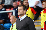 Swindon Town Manager Mark Cooper looks on prior to kick off. Skybet football league 1 match, Crewe Alexandra v Swindon Town at The Alexandra Stadium in Crewe, Cheshire on Saturday 5th September 2015.<br /> pic by Chris Stading, Andrew Orchard sports photography.