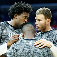 5 October 2016: Los Angeles Clippers forward Blake Griffin (32) talks to Los Angeles Clippers forward Blake Griffin (32) and Los Angeles Clippers guard Chris Paul (3) prior to the Los Angeles Clippers 104-98 victory over the Toronto Raptors, at the Staples Center, Los Angeles, California, USA.