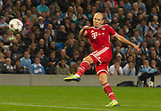02.10.2013 Manchester, England.  Bayern Munich's Arjen Robben in action during the Group D UEFA Champions League game between, Manchester City and Bayern Munich from the Etihad Stadium.