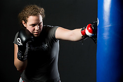 Ema Kozin alias The Princess, Slovenian middleweight boxer, at photo session in a gym, on January 5, 2018 in FIT 13, Ljubljana, Slovenia. Photo by Vid Ponikvar / Sportida