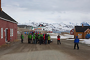 Chinese tourists visit the international scientific research base at Ny Alesund, Svalbard, while travelling on board the Hurtigruten cruise ship Fram.
