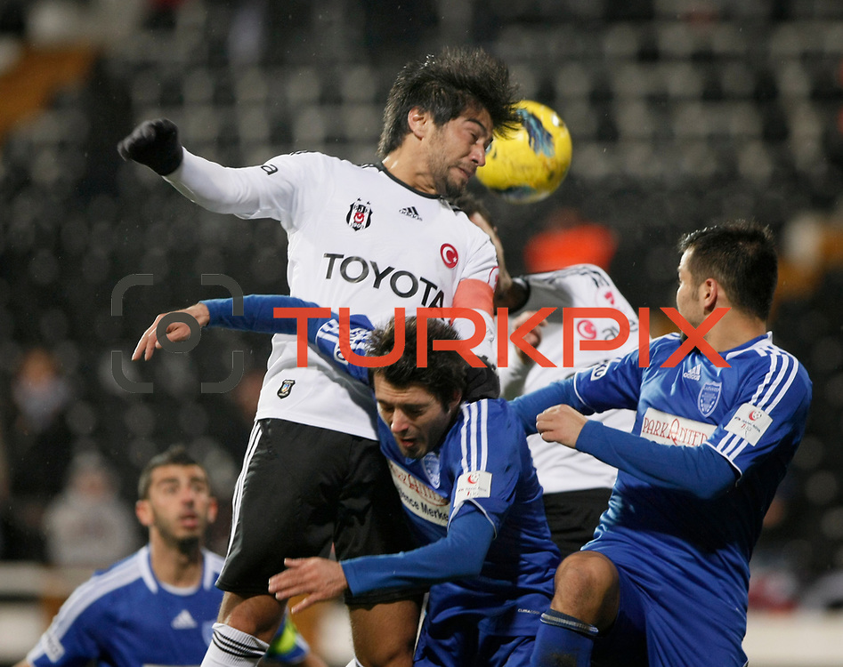 Besiktas's Ibrahim Toraman (C) during their Turkey Cup matchday 3 soccer match Besiktas between Gaziantepspor BSB at the Inonu stadium in Istanbul Turkey on Wednesday 11 January 2012. Photo by TURKPIX