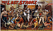 The last stroke a story of Cuba's fight for freedom : by I.N. Morris. c1896 (poster) : lithograph  showing Night attack upon the rectory by Zavalla and his guerrillas, frustrated by U.S. Consul Blake and the Cuban soldiers. Spanish American War 1896-98