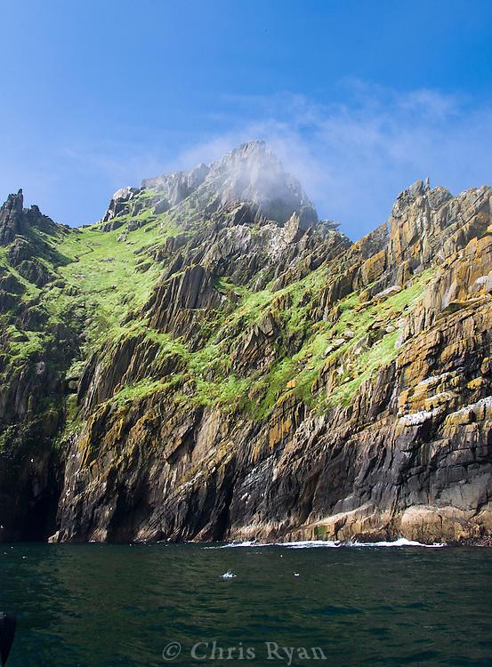 Mist atop Skellig Michael, County Kerry, Ireland