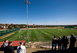 Journalist watching a training session at  Hyde Park High School Stadium on June 14, 2010 in Johannesburg, South Africa.  (Photo by Vid Ponikvar / Sportida)
