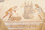 6th century Byzantine Roman mosaics of a race from the peristyle of the Great Palace from the reign of Emperor Justinian I. Istanbul, Turkey. .<br /> <br /> If you prefer to buy from our ALAMY PHOTO LIBRARY  Collection visit : https://www.alamy.com/portfolio/paul-williams-funkystock/great-palace-mosaic-istanbul.html<br /> <br /> Visit our ROMAN MOSAIC PHOTO COLLECTIONS for more photos to download  as wall art prints https://funkystock.photoshelter.com/gallery-collection/Roman-Mosaics-Art-Pictures-Images/C0000LcfNel7FpLI