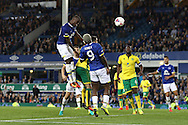 Enner Valencia of Everton gets his head to the ball but sees his effort go wide of the goal. EFL Cup, 3rd round match, Everton v Norwich city at Goodison Park in Liverpool, Merseyside on Tuesday 20th September 2016.<br /> pic by Chris Stading, Andrew Orchard sports photography.