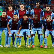 Trabzonspor's players during their Turkish Super League match Trabzonspor between Gaziantepspor at the Avni Aker Stadium at Trabzon Turkey on Wednesday, 28 October 2015. Photo by Aykut AKICI/TURKPIX