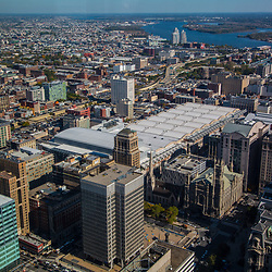 Aerial view of the Convention Center, city hall, ben franklin bridge, delaware river, view north east
