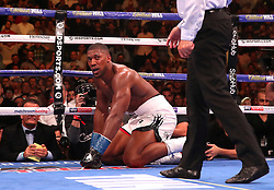 Anthony Joshua (left) is counted down by referee Mike Griffen against Andy Ruiz Jr in the WBA, IBF, WBO and IBO Heavyweight World Championships title fight at Madison Square Garden, New York.