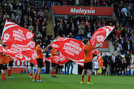 youngsters parade flags before k/o. NPower championship, Cardiff city v Bolton Wanderers at the Cardiff city Stadium in Cardiff, South Wales on Saturday 27th April 2013. pic by Andrew Orchard,  Andrew Orchard sports photography,