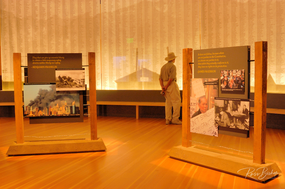 Interpretive displays in the visitor center at Manzanar War Relocation Center (National Historic Site), Owen's Valley, California