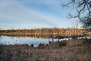 Camouflaged duck blind on a private watershed lake near Shamrock, Oklahoma