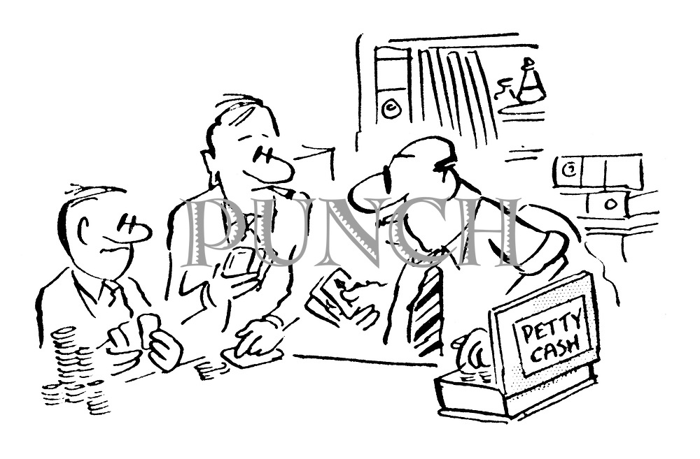 (A businessman dips his hand in the petty cash tin to get more money for a game of cards with his colleagues)
