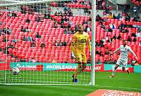 Football - 2019 Buildbase FA Trophy Final - AFC Fylde vs. Leyton Orient<br /> <br /> Orient goalkeeper, Dean Brill can only watch as Danny Rowe's free kick flies into the net for the winning goal, at Wembley Stadium.<br /> <br /> COLORSPORT/ANDREW COWIE