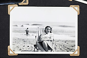 summer beach scene vintage photo in album