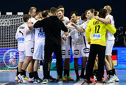 Players of Germany celebrate after winning during handball match between National Teams of Algeria and Germany at Day 3 of IHF Men's Tokyo Olympic  Qualification tournament, on March 14, 2021 in Max-Schmeling-Halle, Berlin, Germany. Photo by Vid Ponikvar / Sportida