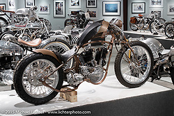 """Paul Cox's 1925 Harley-Davidson JD custom in Michael Lichter's annual Motorcycles as Art Show """"Naked Truth"""" at the Buffalo Chip during the 75th Annual Sturgis Black Hills Motorcycle Rally.  SD, USA.  August 6, 2015.  Photography ©2015 Michael Lichter."""