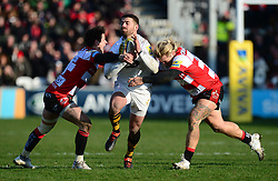 James Hanson of Gloucester Rugby and Billy Burns of Gloucester Rugby tackles Willie Le Roux of Wasps - Mandatory by-line: Alex James/JMP - 24/02/2018 - RUGBY - Kingsholm - Gloucester, England - Gloucester Rugby v Wasps - Aviva Premiership