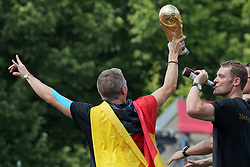 15.07.2014, Brandenburger Tor, Berlin, GER, FIFA WM, Empfang der Weltmeister in Deutschland, Finale, im Bild Manuel Neuer und Bastian Schweinsteiger feiern // during Celebration of Team Germany for Champion of the FIFA Worldcup Brazil 2014 at the Brandenburger Tor in Berlin, Germany on 2014/07/15. EXPA Pictures © 2014, PhotoCredit: EXPA/ Eibner-Pressefoto/ Hibbeler<br /> <br /> *****ATTENTION - OUT of GER*****