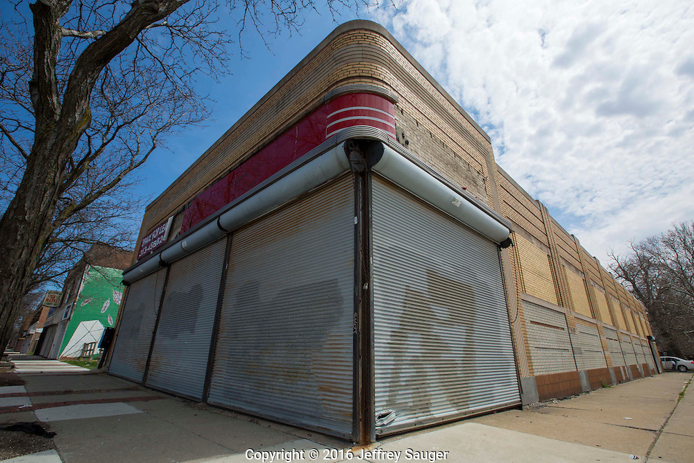 A former Kresge Department Store in the Jefferson-Chalmers Historic Business District and neighborhood in Detroit, Michigan, Wednesday, April 20, 2016. This is future home of Jefferson East Inc. <br /> <br /> On September 7, 2016, The National Trust for Historic Preservation gave the Jefferson-Chalmers neighborhood in Detroit's lower east side the distinction of a National Treasure. This is the first in the state of Michigan and the first project under the National Trust's ReUrbanism initiative. (Photo by Jeffrey Sauger )