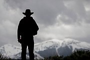Cowboy on top in Yellowstone National Park, Wyoming.