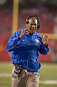 Kentucky Wildcats head coach Joker Phillips reacts to a play during the second half of a game against the Arkansas Razorbacks at Donald W. Reynolds Razorback Stadium in Fayetteville, Ark., on Oct.. 13, 2012. Photo by Beth Hall