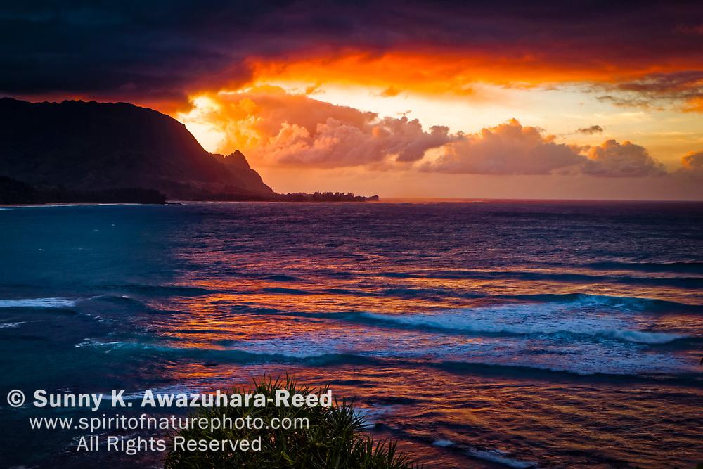Looking towards the Na Pali Coast from Hanalei Bay at Sunset, Kauai, Hawaii.