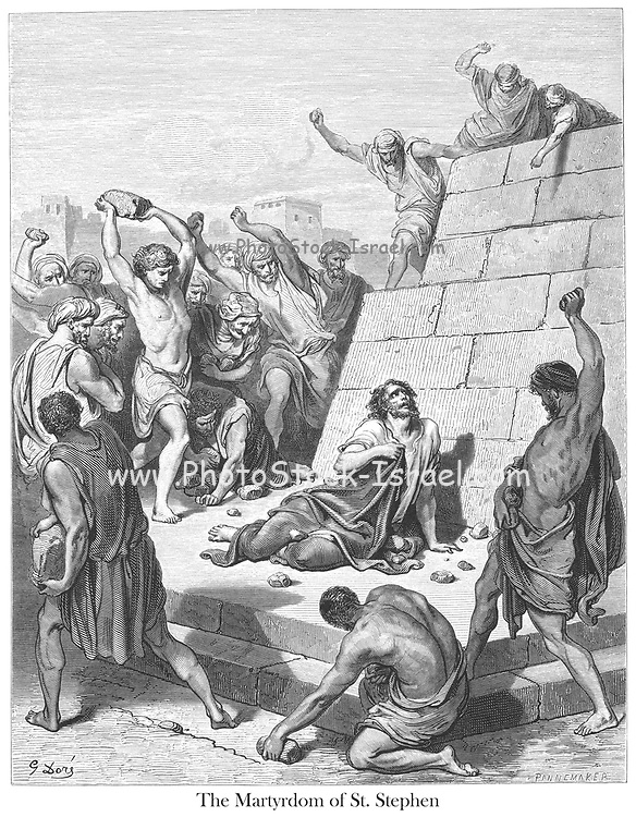 Martyrdom of St. Stephen [Acts 7:59-60] From the book 'Bible Gallery' Illustrated by Gustave Dore with Memoir of Dore and Descriptive Letter-press by Talbot W. Chambers D.D. Published by Cassell & Company Limited in London and simultaneously by Mame in Tours, France in 1866