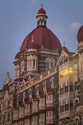 View of Taj Mahal Palace Hotel at dusk, Mumbai, India