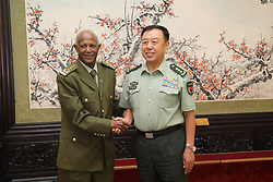 (170818) -- BEIJING, Aug. 18, 2017 (Xinhua) -- Fan Changlong (R), vice chairman of the Central Military Commission of China, meets with Samora Yenus, chief of staff of the Ethiopian National Defense Forces, in Beijing, capital of China, Aug. 18, 2017. (Xinhua/Liu Fang)(wjq) (Photo by Xinhua/Sipa USA)