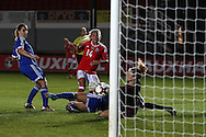 Charlotte Estcourt of Wales women © scores her teams 3rd goal. UEFA Womens Euro qualifying match, Wales Women v Israel Women at Rodney Parade in Newport, South Wales on Thursday 15th September 2016.<br /> pic by Andrew Orchard, Andrew Orchard sports photography.