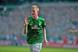 04.05.2013, Weserstadion, Bremen, GER, 1. FBL, SV Werder Bremen vs TSG 1899 Hoffenheim, 32. Runde, im Bild Kevin de Bruyne (Bremen #6) beim Jubel ueber den Treffer zum 2:0 // during the German Bundesliga 32nd round match between the clubs SV Werder Bremen vs TSG 1899 Hoffenheim at the Weserstadion, Bremen, Germany on 2013/05/04. EXPA Pictures © 2013, PhotoCredit: EXPA/ Andreas Gumz ***** ATTENTION - OUT OF GER *****