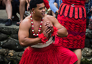 """Dancing of Tonga in the Canoe Pageant, """"Rainbows of Paradise."""" The Polynesian Cultural Center (PCC) is a major theme park and living museum, in Laie on the northeast coast (Windward Side) of the island of Oahu, Hawaii, USA. The PCC first opened in 1963 as a way for students at the adjacent Church College of Hawaii (now Brigham Young University Hawaii) to earn money for their education and as a means to preserve and portray the cultures of the people of Polynesia. Performers demonstrate Polynesian arts and crafts within simulated tropical villages, covering Hawaii, Aotearoa (New Zealand), Fiji, Samoa, Tahiti, Tonga and the Marquesas Islands. The PCC is run by the Church of Jesus Christ of Latter-day Saints (LDS Church). For this photo's licensing options, please inquire."""
