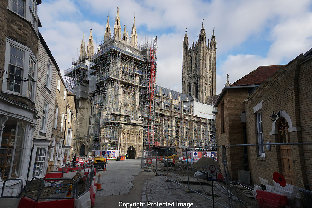 The construction on the Canterbury Cathedral   in Canterbury UK