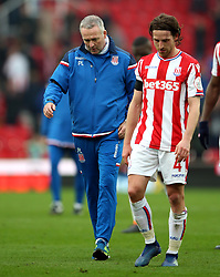 Stoke City manager Paul Lambert and Joe Allen after the Premier League match at the bet365 Stadium, Stoke.